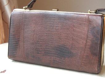 Genuine Vintage Lizard Purse by Sterling USA - Handbag, Exotic Shoulder Bag, Rare, Like New, Scales, Metal Feet, Top Handle Bag, WTH-1332