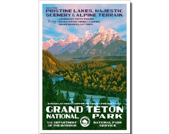 "Grand Teton National Park Poster, WPA style 13"" x 19"" Signed by the artist. FREE SHIPPING!"
