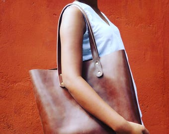 PATRA - unlined tote bag, brown thick leather shopper bag bag, leather tote, laptop bag, brown leather bag, bag brown, leather tote women