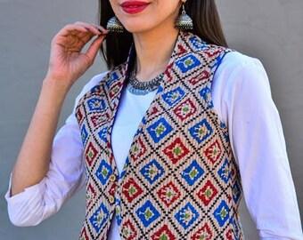 Reversible Half Sleeves Block Printed Quilted Jacket