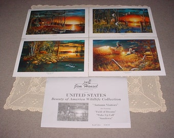 AMERICAN WILDLIFE COLLECTION 4 Colorful Prints Jim Hansel ~ Complete Set ~ Highly Collectible Prints
