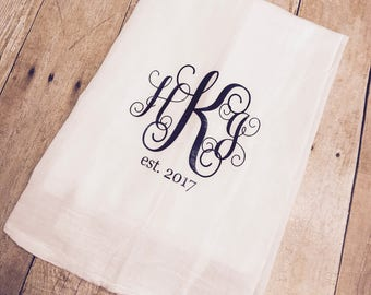 Monogrammed farmhouse flour sack tea towel, personalized kitchen towel, wedding gift, anniversary gift, personalized initials