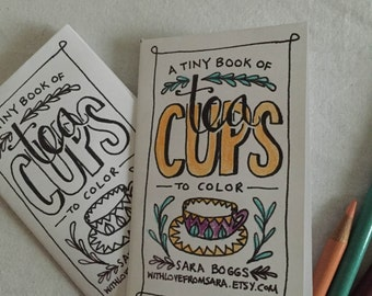 Tiny Printable Coloring Book of Tea Cups