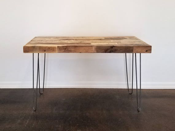 Well-known reclaimed wood modern steel hairpin leg desk work table laptop WX83