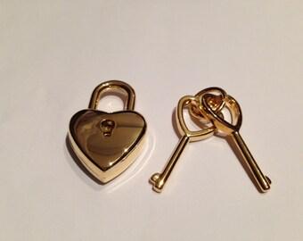 NEW! Cute heart shape golden colour pad lock and key 38mm x 25mm x 8mm, gold pad lock with key, lock, hardware