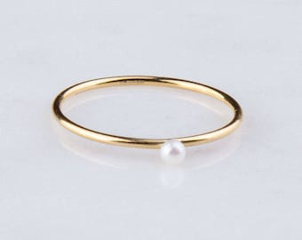 Gold Filled Tiny Pearl Band Ring, Priced per Piece, Sizes from 5 to 8, CZ Solitaire Ring, Stackable Ring,Stacking Ring SR291
