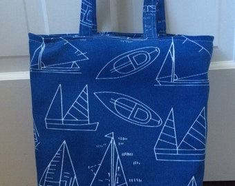 Handmade Tote Bag blue sailboat schematic SHIPS FREE