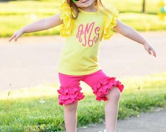 Hot Pink Ruffle Shorties- ruffle shorts
