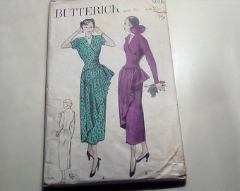 RARE Vintage 1940's Butterick 5036 Dress with Pouf Drape on Skirt Sewing Pattern Size 12 Bust 30