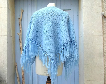 Handmade vintage shawl, wool scarf, blue crochet shawl, winter scarf, vintage clothing, retro clothes, gypsy shawl, tassel shawl, boho shawl