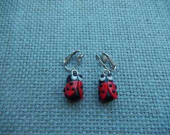 polymer clay Ladybug clip earrings