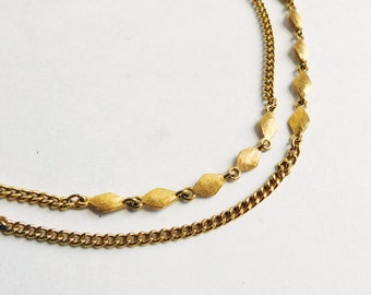 Vintage Signed Monet Goldtone Etched Chain Necklace - Extremely Long 54-Inch Chain - Faux Gold Chain Necklace - Double or Triple Strand