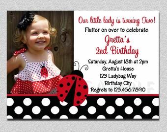 Ladybug Birthday 1st birthday Invitation,  Ladybug Birthday Party Invitation, Girl Photo Invitation, Ladybug Photo Invitation, Ladybug Party
