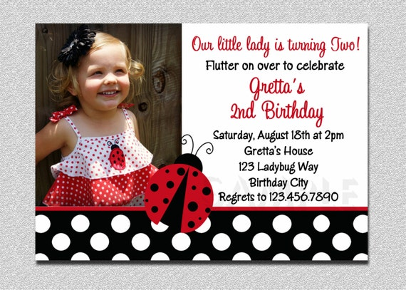 Ladybug birthday 1st birthday invitation ladybug birthday filmwisefo Gallery