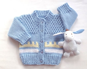 Fair Isle Baby cardigan - 0 to 6 months - Baby boy sweater - Baby girl sweater - Baby shower gift