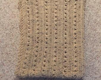 Hand crocheted Buff Flecks throw