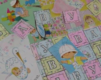 Vintage 60s Embellishments ~ Baby ~ Scrap Lot ~ New Arrival ~ Pastels