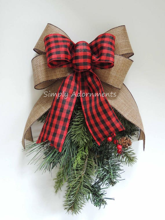 Red Black Check Burlap Christmas Bow Rustic Red Black Check  Wreath Bow Christmas Lantern Swag Bow Country Holiday Plaid Burlap Winter Bow