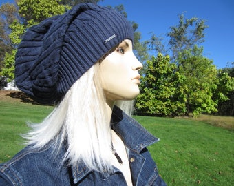Baggy Cable Knit Slouch Tam Women's Slouchy Beanie, Navy Blue Long Back Cotton Dread Tam Thick Warm Winter Hat A1034