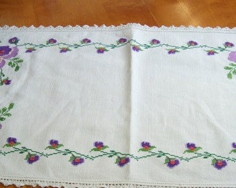 Long Cross Stitched Purple Pansy Runner - Excellent condition