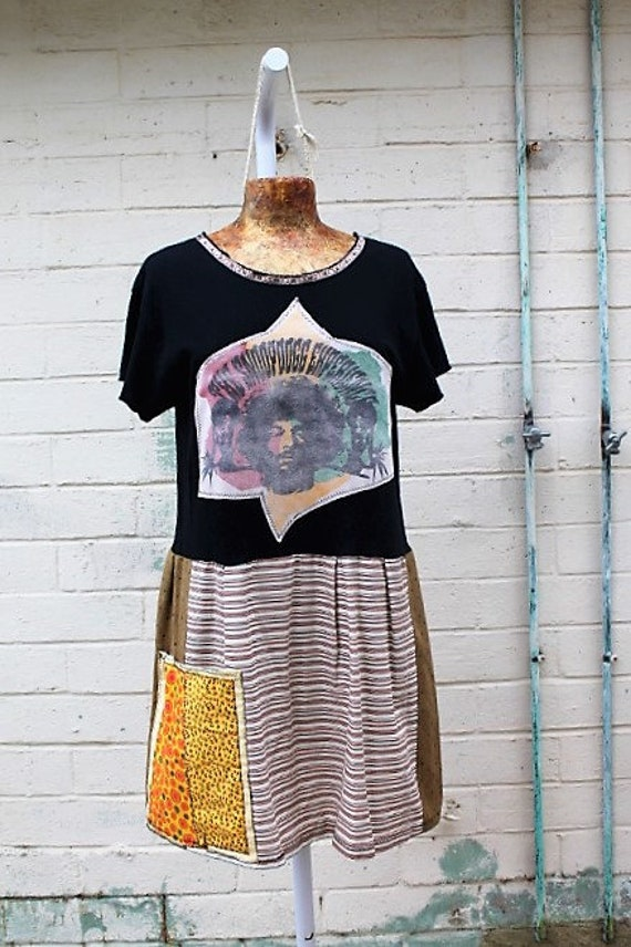 Large Snoop Dog Experience Babydoll Dress/Snoop Lion/Tupac Dress/Rasta dress/Babydoll Dress/Upcycled Clothing/Short Dress/summer dress/Rap