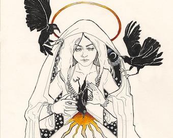 Three Crows/Health (Original Pen Drawing)