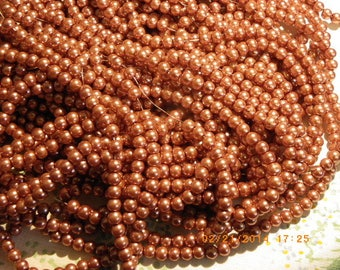 150 glass Pearl 6 mm orange rust pearl beads