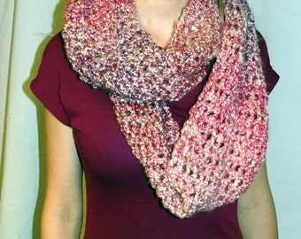 Pink Infinity Scarf Circle Chunky Loop Extra Long Cowl Soft Crochet knit Multicolor Yarn Birthday Gift Fashion Chic Neckscarf Spring