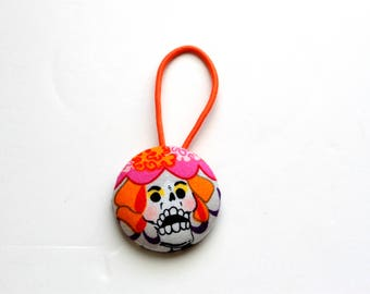 Dia de Los Muertos Fabric Covered Giant Button Pony Holder