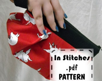 Zipper Wristlet PDF Purse Pattern Pleated Gathered Clutch EASY Instructions DIY Tutorial