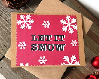 Handmade Christmas Card, Let It Snow, Red White Black, Snowflakes, Brown Craft Paper, Unique, One of a Kind, Blank Inside, Free US Shipping