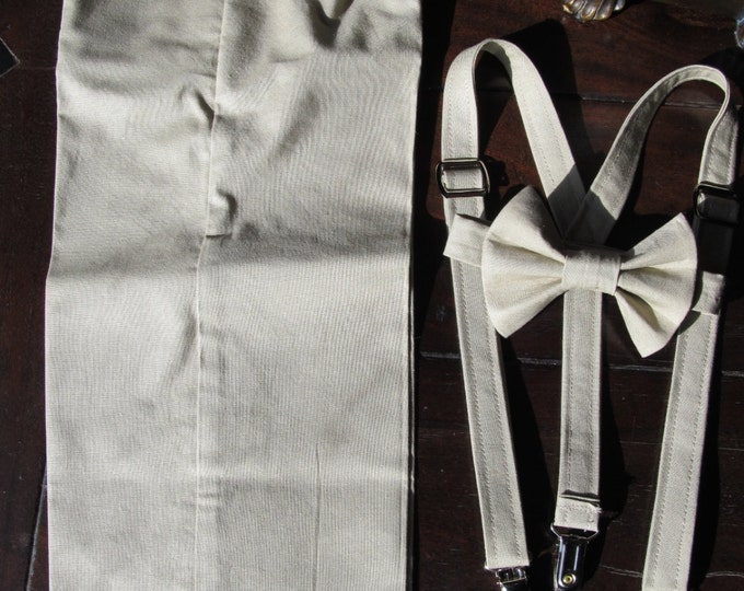 Cotton Ring Bearer Outfit; 3 Piece Set, Ring Bearer Bow Tie, Ring Bearer Suspenders, and Pants. Wedding Outfit for Ringbearer