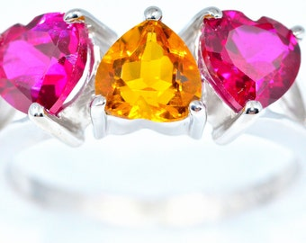 3 Ct Citrine & Ruby Heart Ring .925 Sterling Silver Rhodium Finish