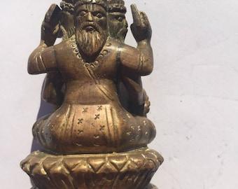 """2.5"""" 19th Century Bronze Indian Many Headed God"""
