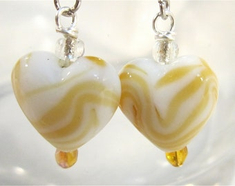 Yellow and white puffy glass heart earrings