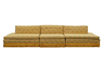 3 pc Retro Kitsch Mid Century Sectional Sofa Couch Funky Cool