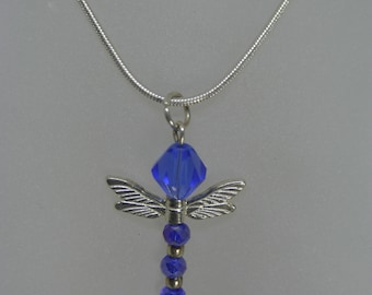 Dragonfly Crystal Necklace in Blue and Silver on a Silver Chain