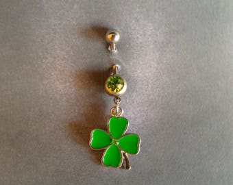 belly button ring Four Leaf Clover