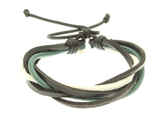 Leather And Cord Strap Bracelet In Green And White - 249