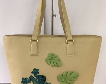Beige Leather Tote with Frog and Leaves Motif