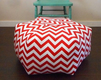 Pouf Ottoman / Floor Pillow / Red Chevron / Large Floor Pouf /Round Pouf cushion / floor cushion / foot stool ottoman / Decorative Pillow