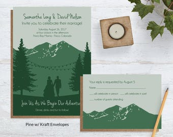Wedding Invitations Mountains, Woodland Wedding Invite Sets, Mountain Adventure Wedding, Forest Wedding Invitations, Skiing Wedding