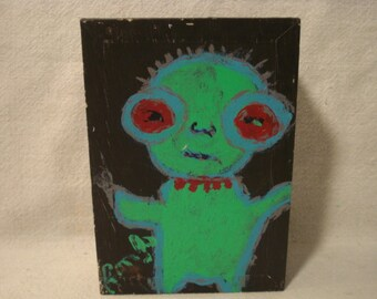 CLYDE Folk Art Outsider Art Rongo Painting on Large Cigar Box