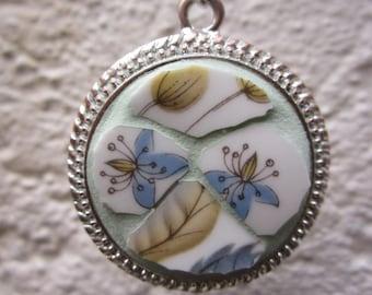 SALE - Mosaic Pendant, broken china necklace, wearable art, art pendant