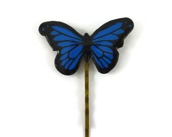 Epingle à cheveux papillon Morpho bleu roi et noir, barrette papillon, accessoire à cheveux éco-responsable en plastique peint (CD recyclé)