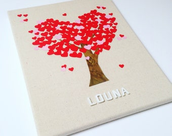 Canvas baby tree has personalized hearts, baby name, deco room baby, baby, baby picture frame