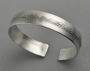 Handwriting Custom Personalized Silver Cuff Solid Bracelet ~Story Cuff~ women's memorial anniversary romantic signature stamped Inscribed