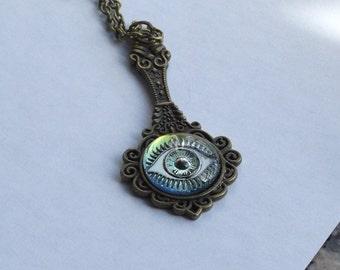 Steampunk Green Blue Evil Eye Pendant Necklace