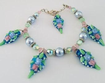 Spring Bouquet Charm Bracelet, Floral Bracelet