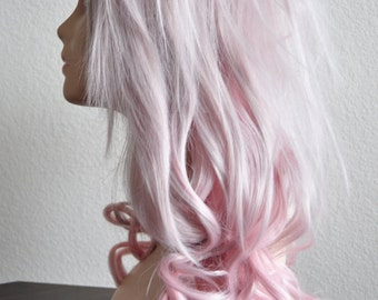 Wavy & Straight Layered Wig in Silver Pink and Pastel Pink Ombre
